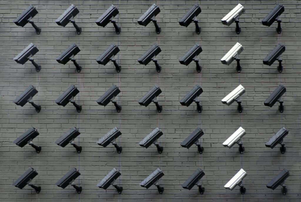 multiple cameras on a wall